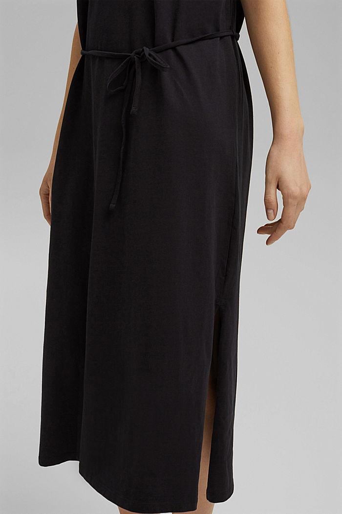 Vestido de largo midi realizado en jersey, algodón ecológico, BLACK, detail image number 3