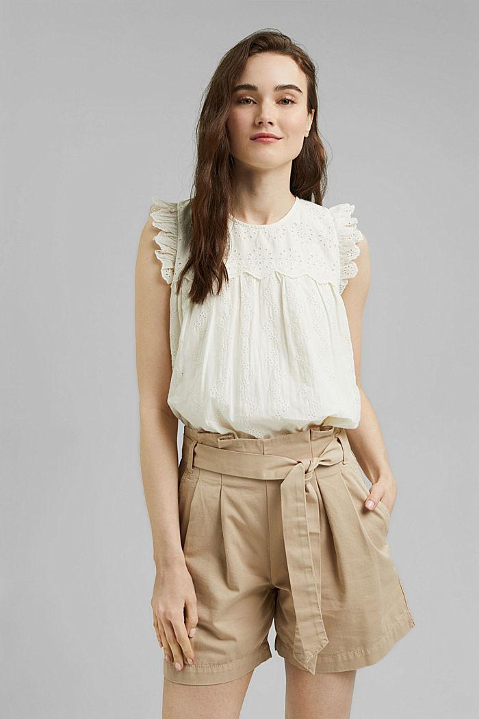 Bluse mit Lochstickerei, Organic Cotton