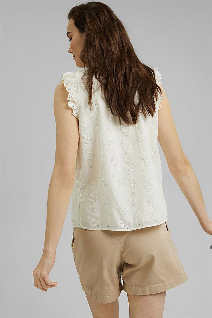 Bluse mit Lochstickerei, Organic Cotton, OFF WHITE, detail image number 3