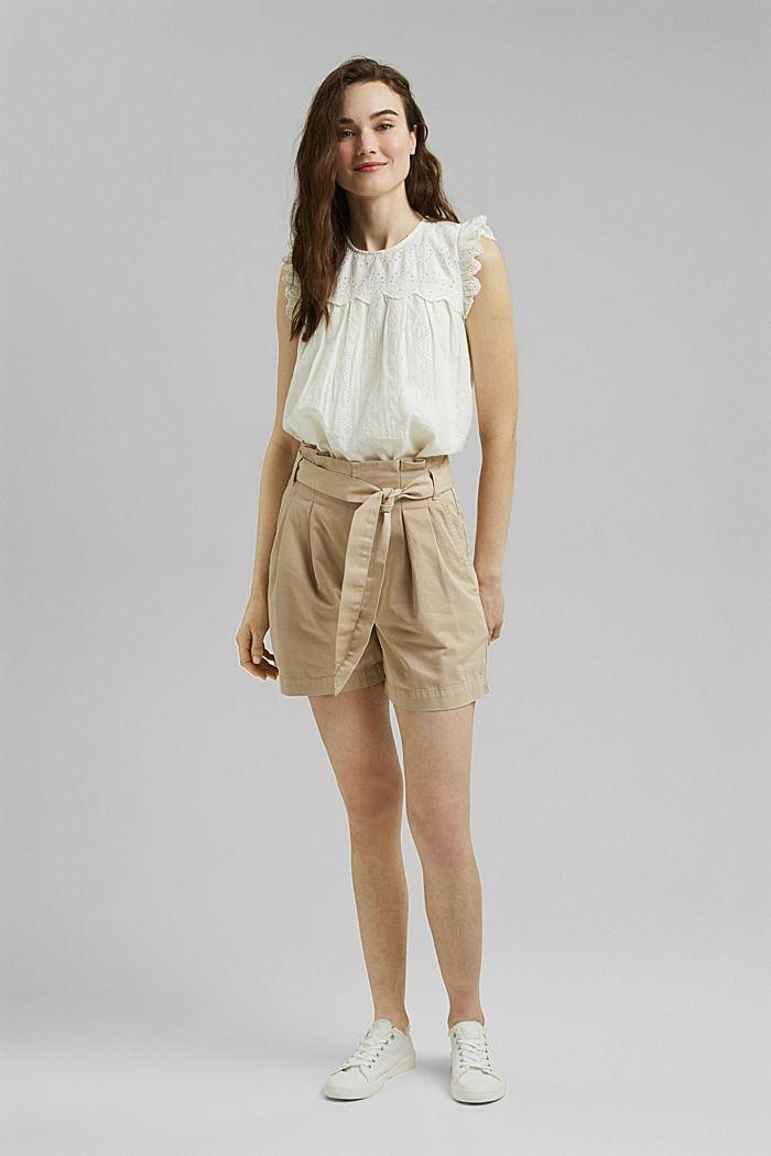 Bluse mit Lochstickerei, Organic Cotton, OFF WHITE, detail image number 1