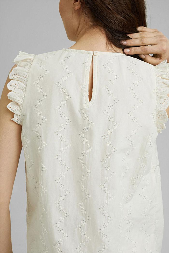 Bluse mit Lochstickerei, Organic Cotton, OFF WHITE, detail image number 5