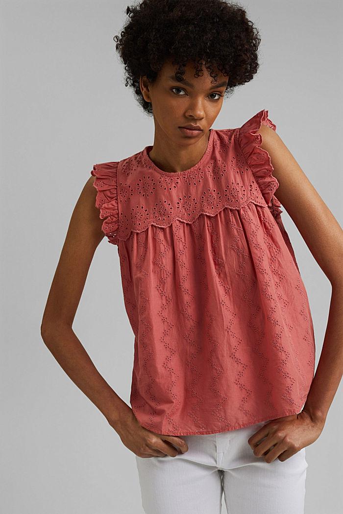 Blusa con bordado calado, algodón ecológico, CORAL, detail image number 0