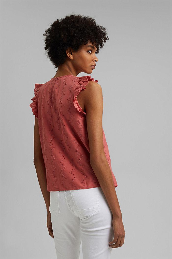 Blusa con bordado calado, algodón ecológico, CORAL, detail image number 3