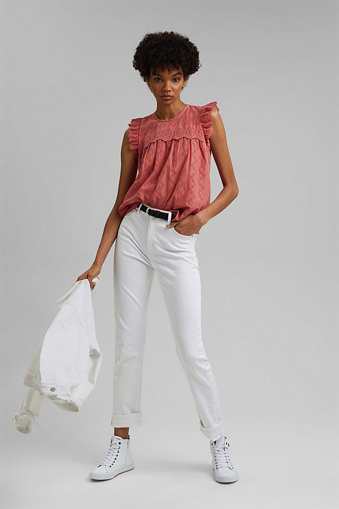 Blusa con bordado calado, algodón ecológico, CORAL, detail image number 1