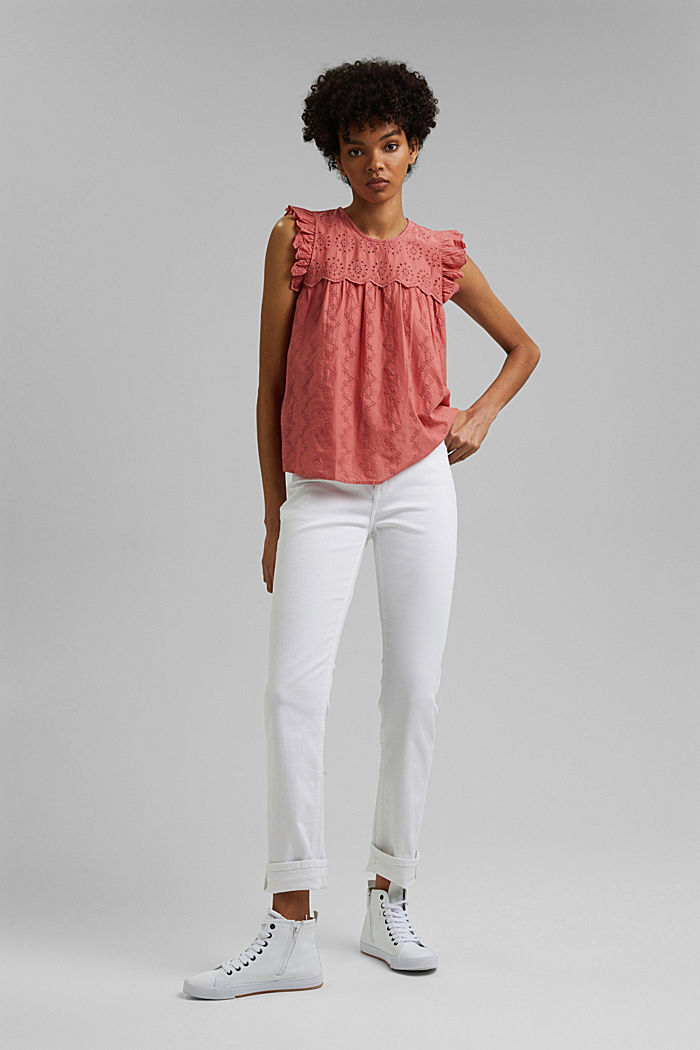Blusa con bordado calado, algodón ecológico, CORAL, detail image number 7