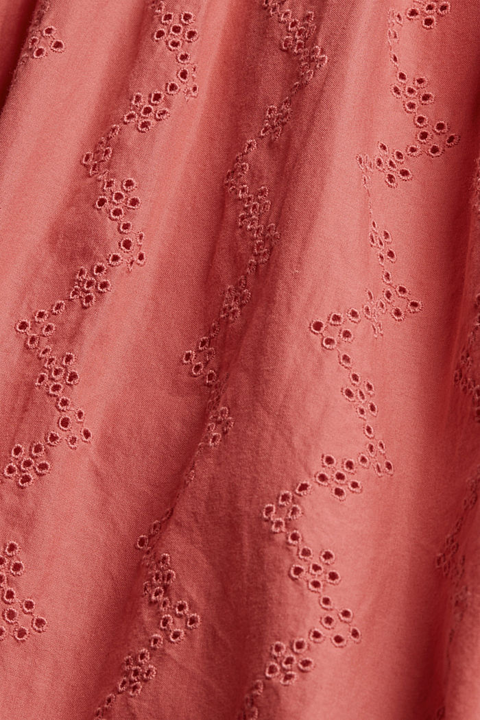 Blusa con bordado calado, algodón ecológico, CORAL, detail image number 4