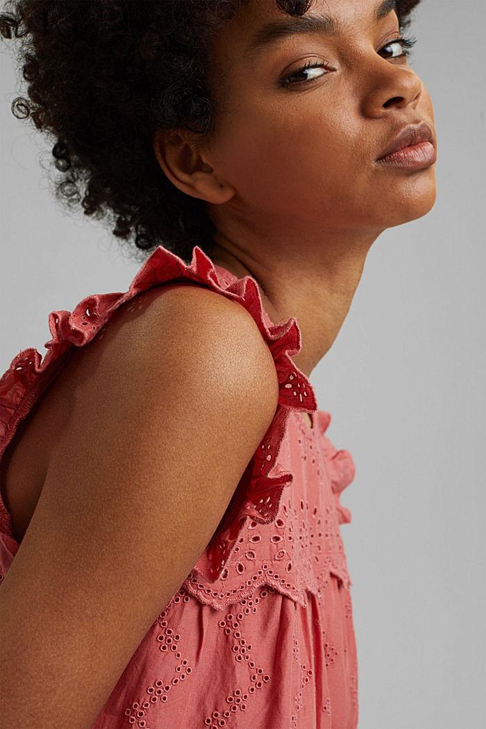 Blusa con bordado calado, algodón ecológico, CORAL, detail image number 6