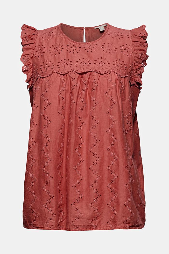 Blusa con bordado calado, algodón ecológico, CORAL, detail image number 8