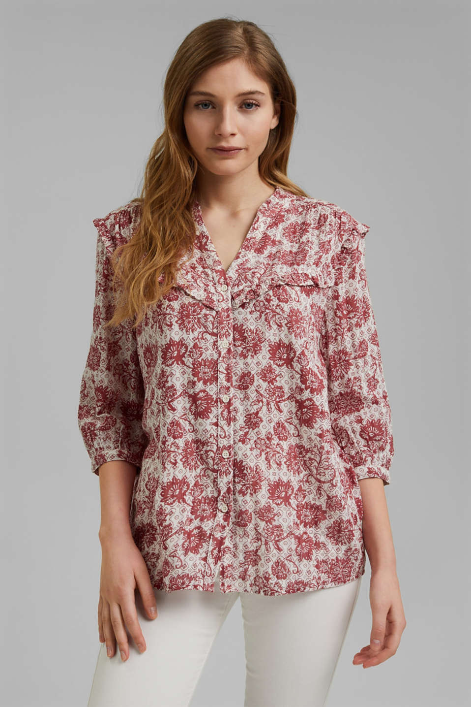 edc - Double-faced blouse with a print and frills