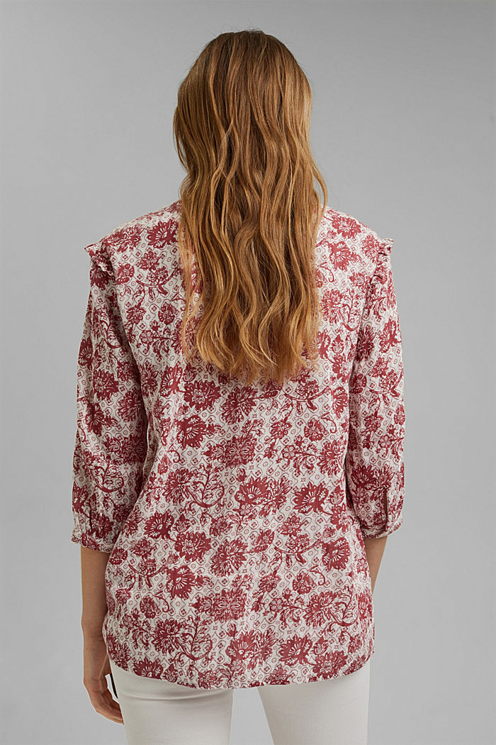 Double face blouse met print en ruches, CORAL, detail image number 3