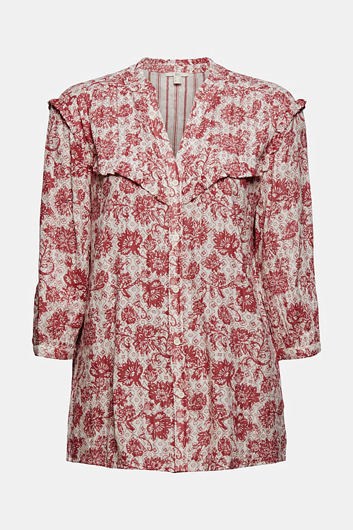 Double face blouse met print en ruches, CORAL, detail image number 8