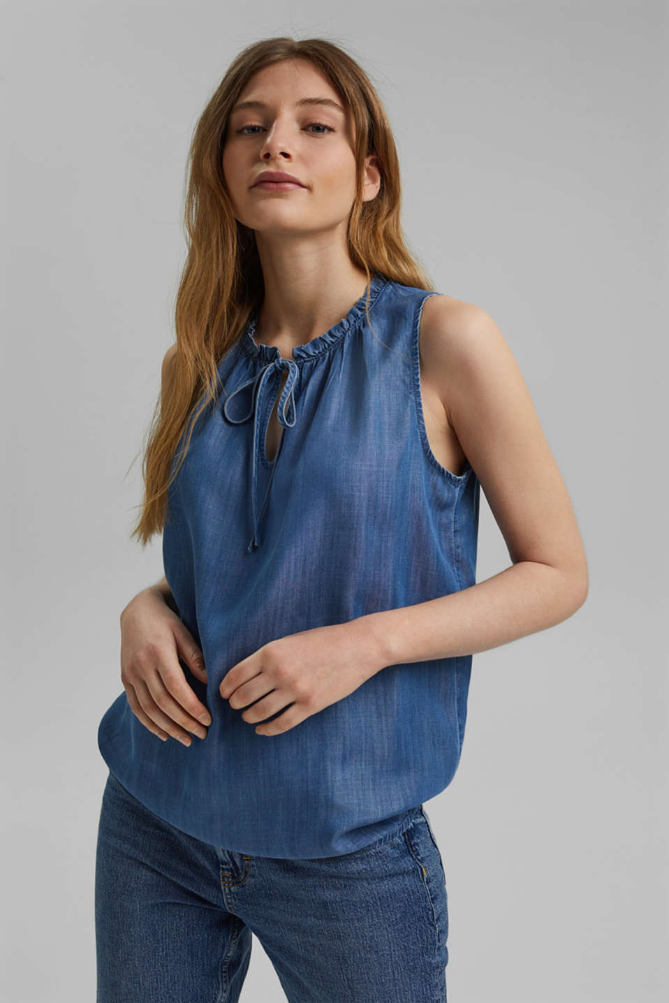 edc - I TENCEL™: Blusetop i denimlook
