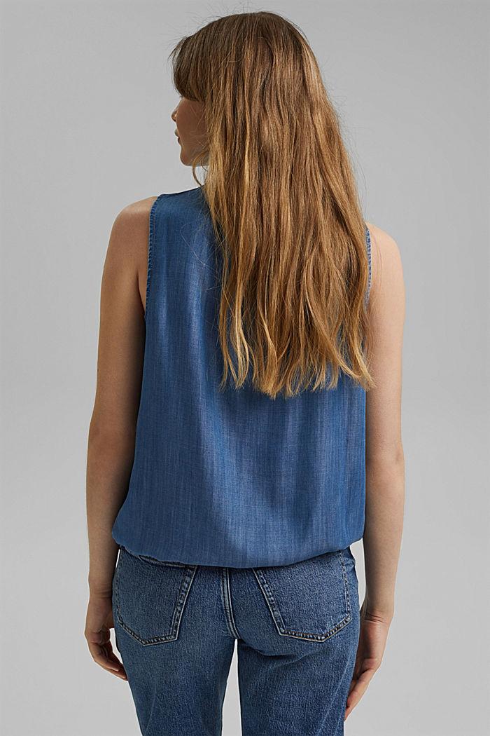 En TENCEL™: le haut façon blouse d´aspect denim, BLUE MEDIUM WASHED, detail image number 3