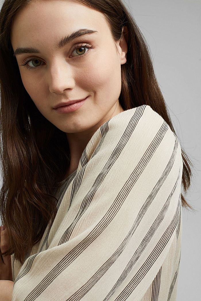 Print blouse with LENZING™ ECOVERO™, BEIGE, detail image number 5