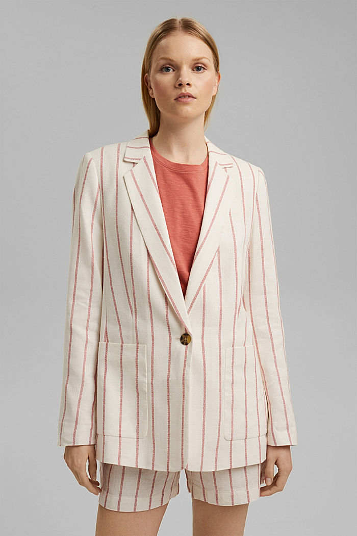 Striped long blazer in a fabric blend containing linen, OFF WHITE, detail image number 0