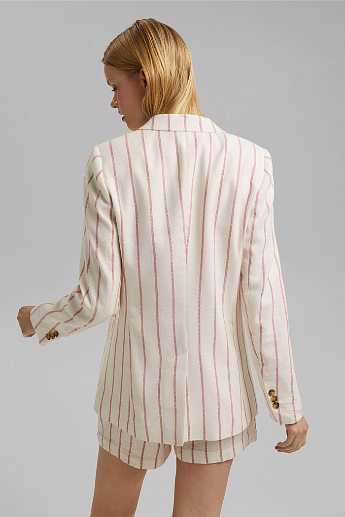 Striped long blazer in a fabric blend containing linen, OFF WHITE, detail image number 3