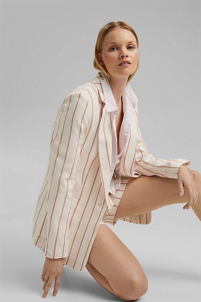 Striped long blazer in a fabric blend containing linen