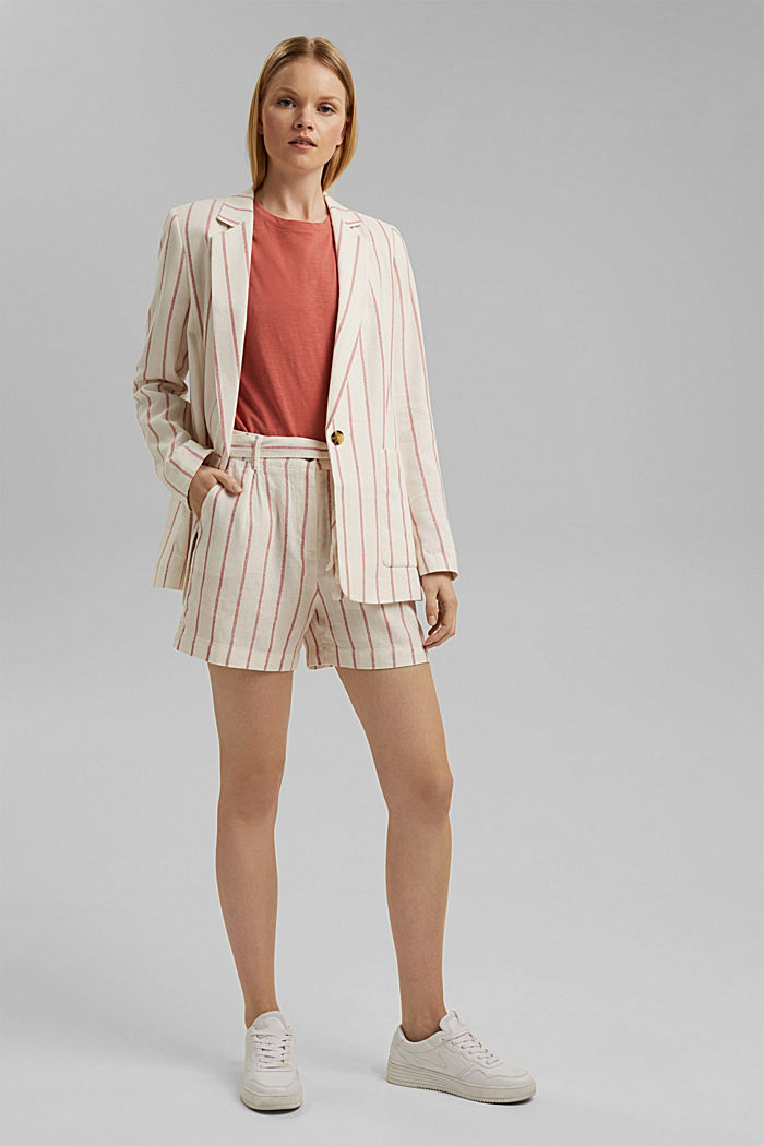 Striped long blazer in a fabric blend containing linen, OFF WHITE, detail image number 1
