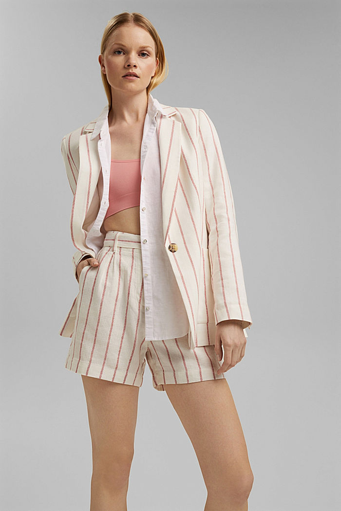 Striped long blazer in a fabric blend containing linen, OFF WHITE, detail image number 5