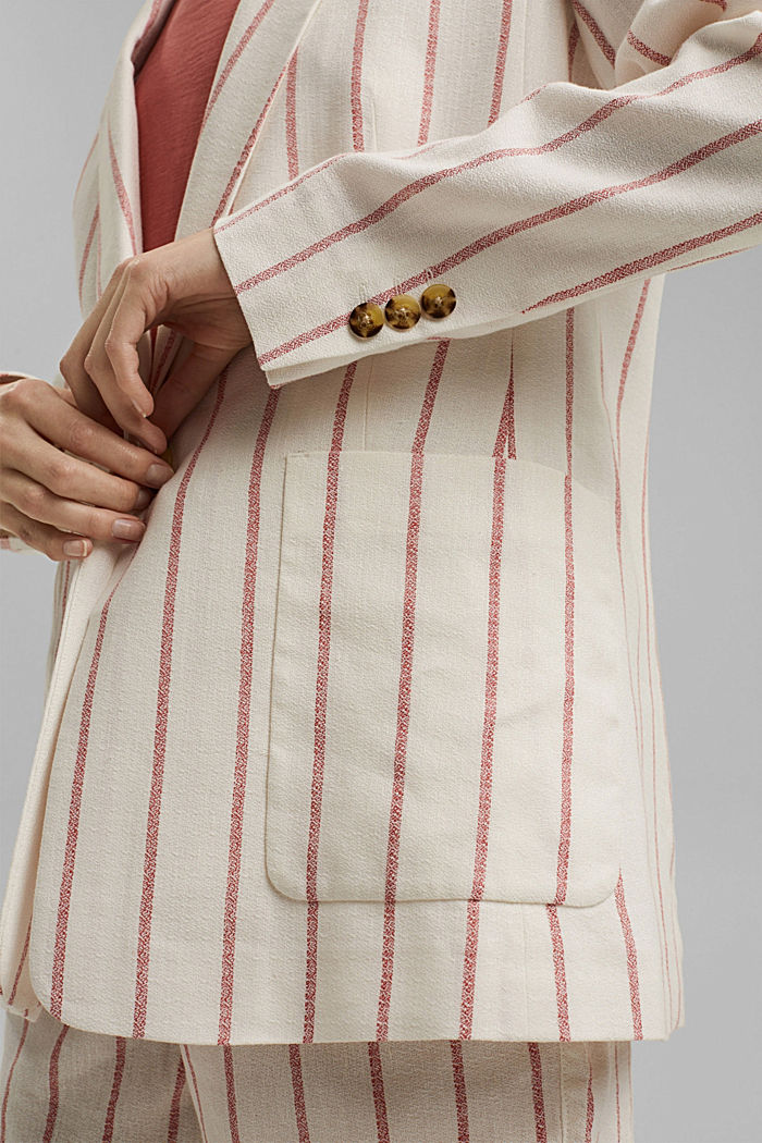 Striped long blazer in a fabric blend containing linen, OFF WHITE, detail image number 2