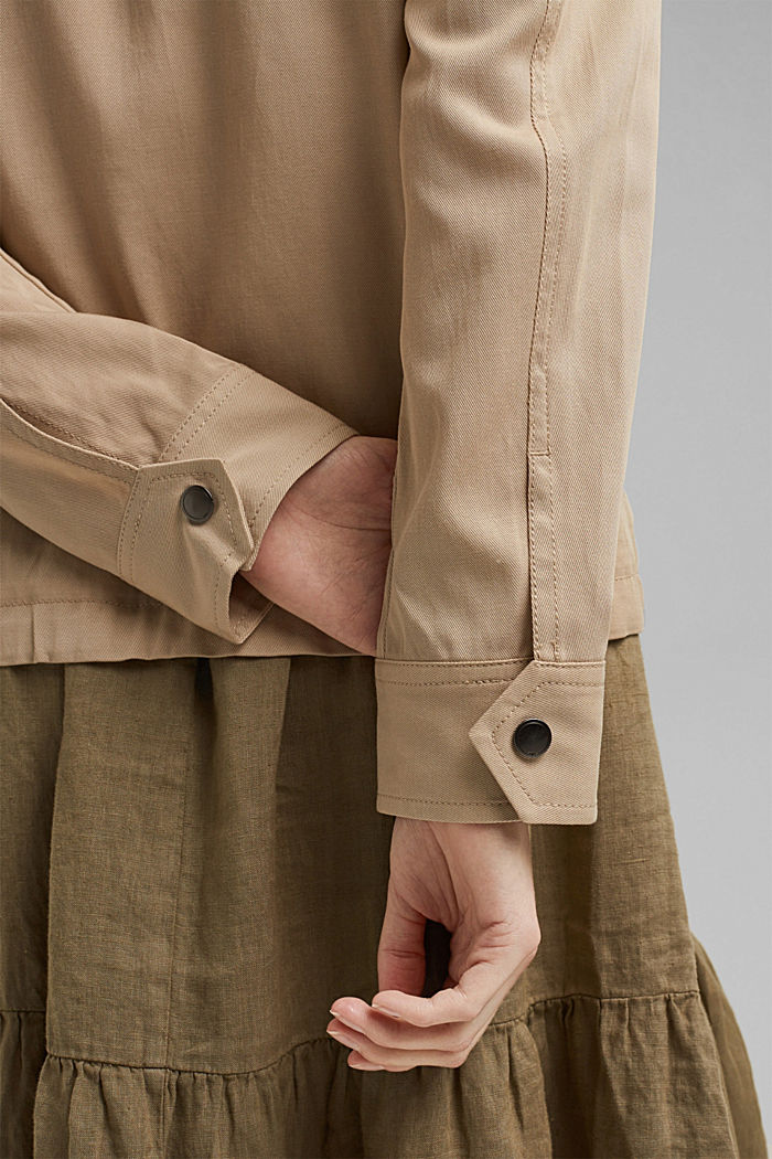 TENCEL™: Übergangsjacke mit Lyocell, BEIGE, detail image number 4