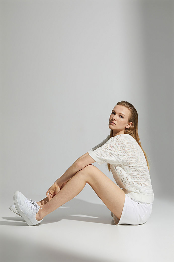Openwork jumper made of 100% organic cotton, OFF WHITE, detail image number 5