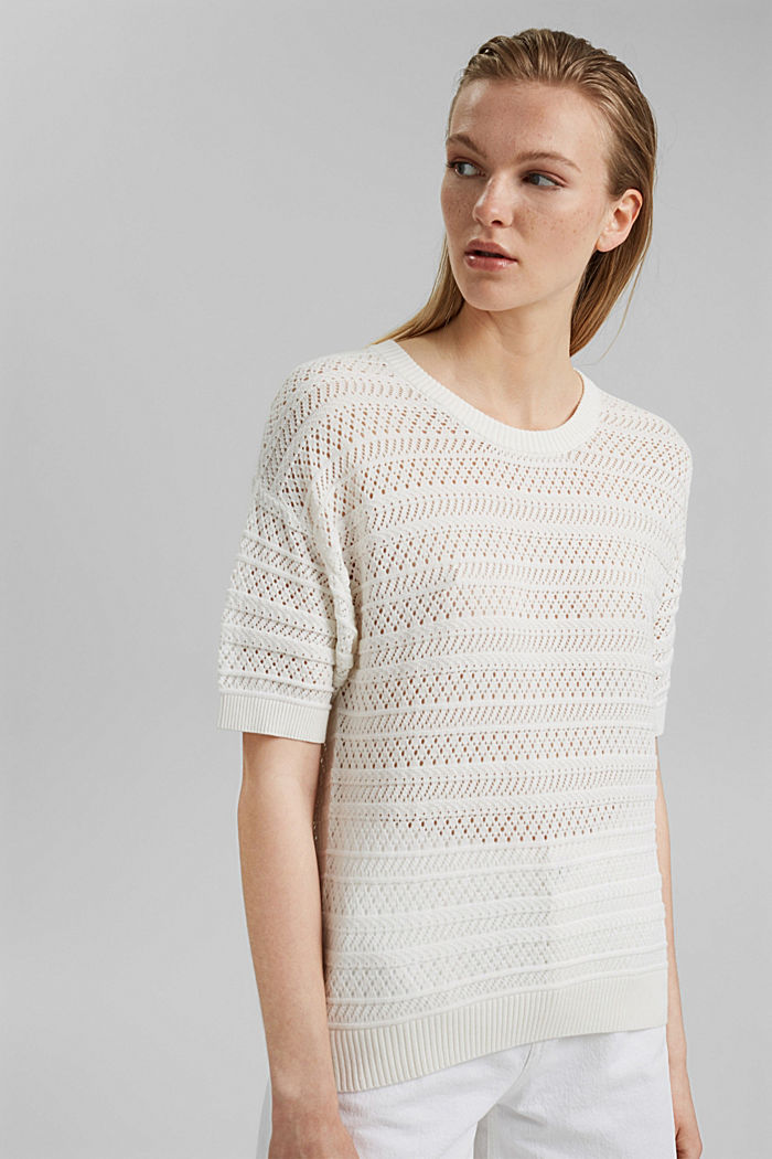 Openwork jumper made of 100% organic cotton, OFF WHITE, detail image number 6