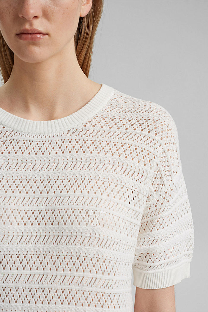 Openwork jumper made of 100% organic cotton, OFF WHITE, detail image number 2