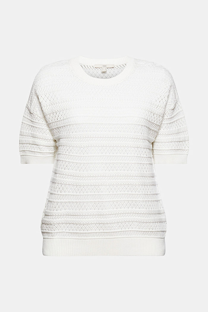Openwork jumper made of 100% organic cotton, OFF WHITE, detail image number 8