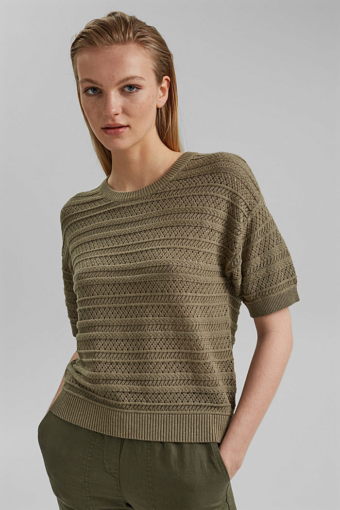 Ajour-pullover af 100% økologisk bomuld, LIGHT KHAKI, detail image number 0