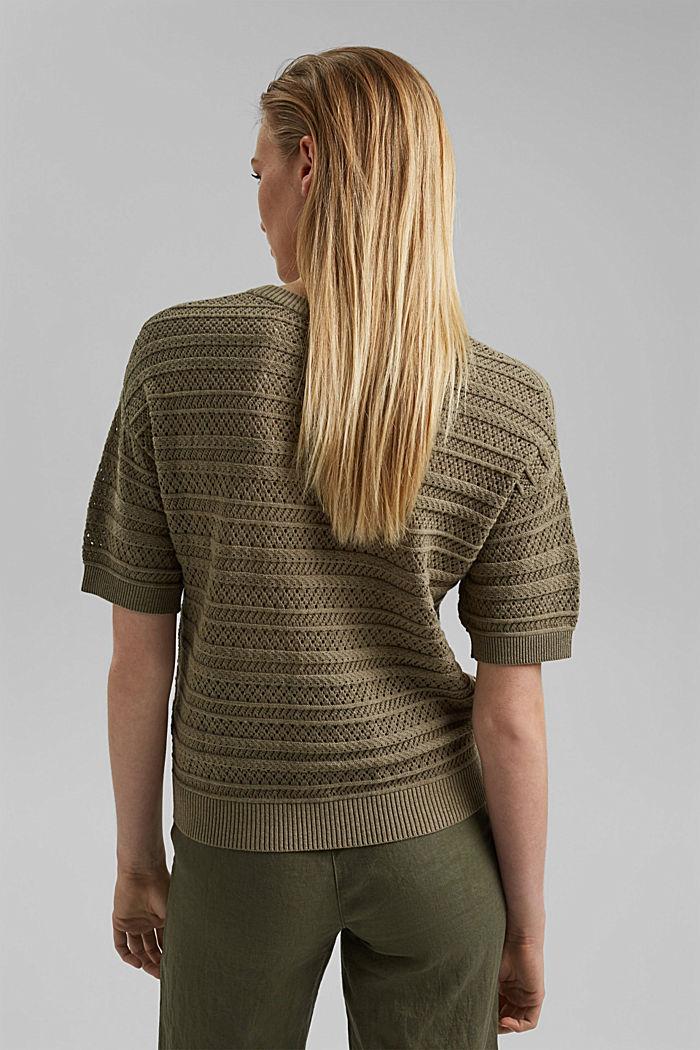 Ajour-pullover af 100% økologisk bomuld, LIGHT KHAKI, detail image number 3