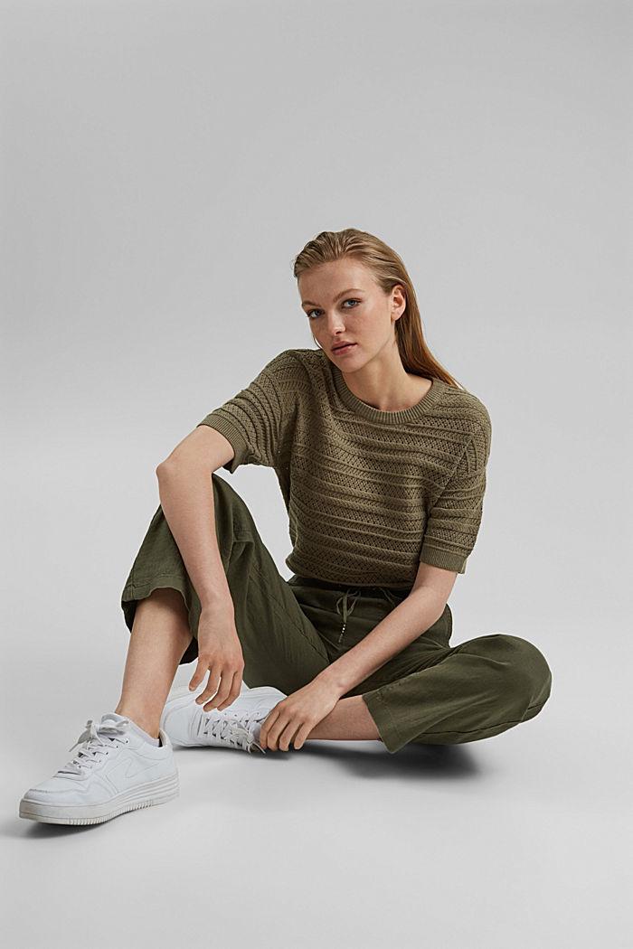 Ajour-Pullover aus 100% Organic Cotton, LIGHT KHAKI, detail image number 5