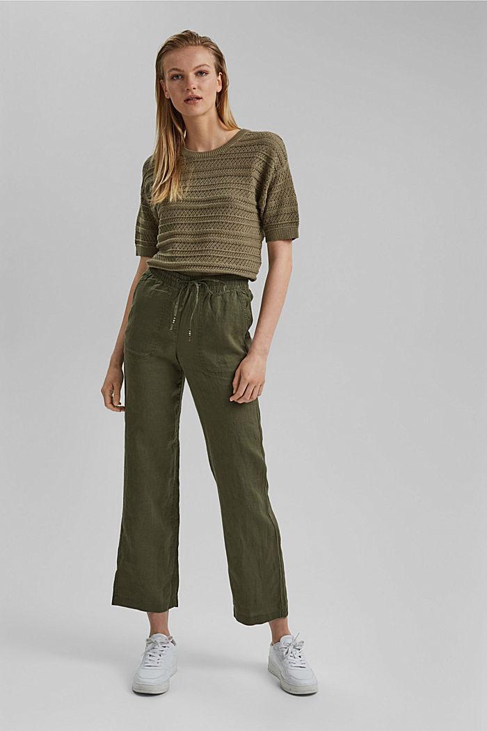 Ajour-Pullover aus 100% Organic Cotton, LIGHT KHAKI, detail image number 1
