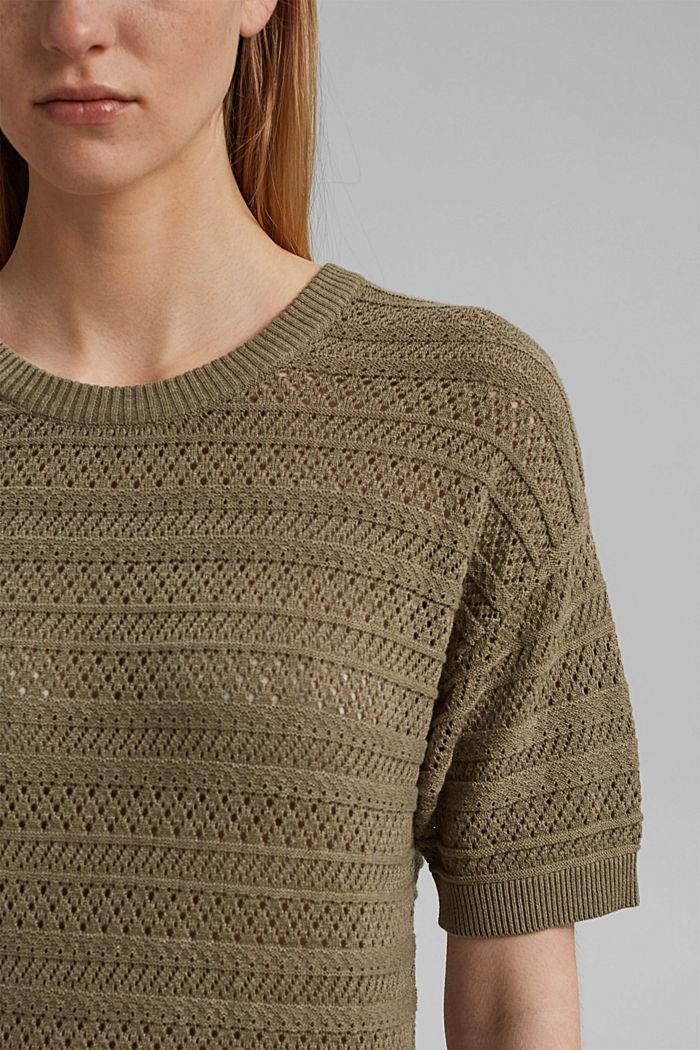 Ajour-pullover af 100% økologisk bomuld, LIGHT KHAKI, detail image number 2