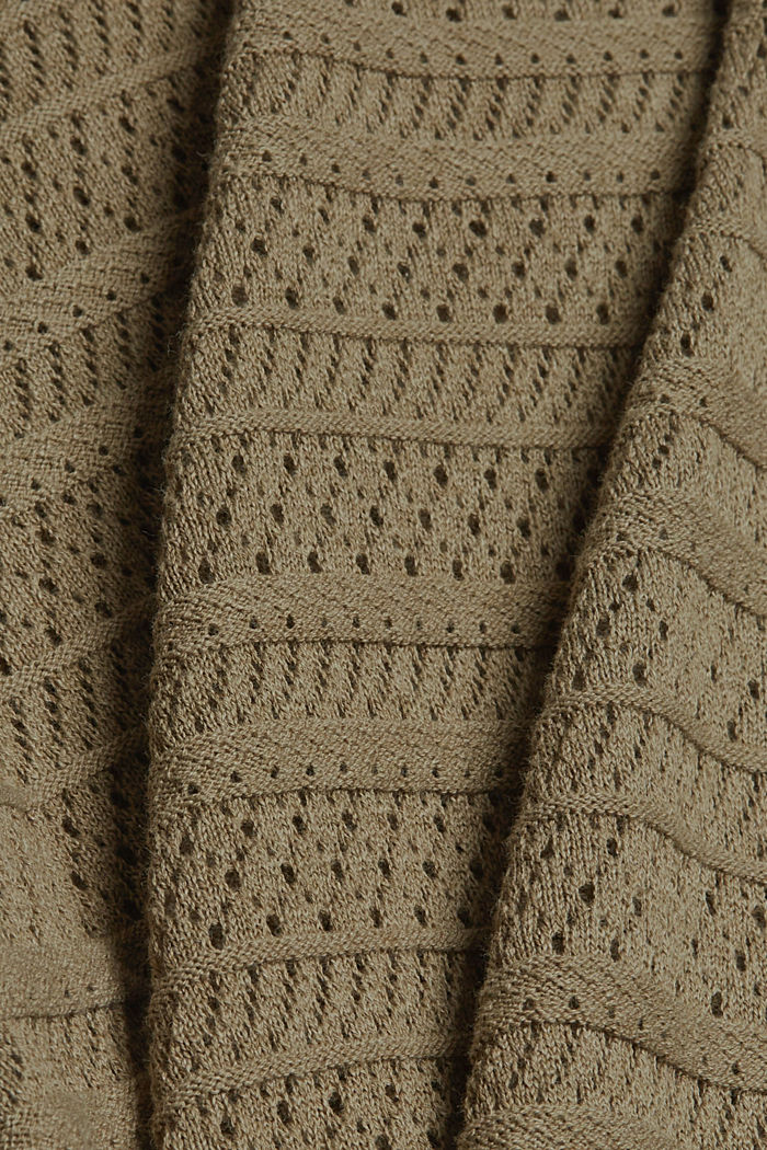 Ajour-pullover af 100% økologisk bomuld, LIGHT KHAKI, detail image number 4