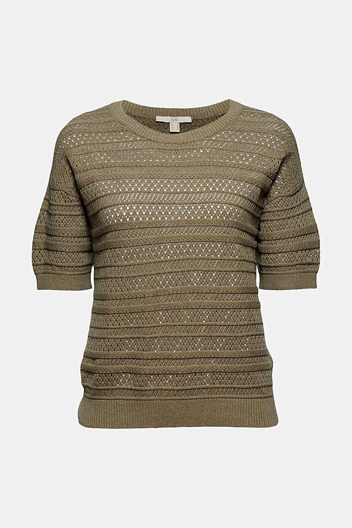 Ajour-pullover af 100% økologisk bomuld, LIGHT KHAKI, detail image number 6