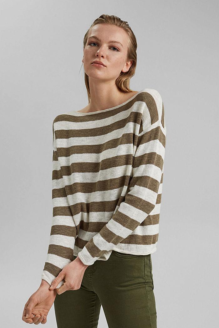 Biologisch katoen/linnen: trui met blokstrepen