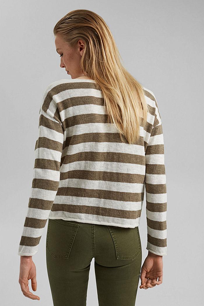 Organic cotton/linen: block stripe jumper, LIGHT KHAKI, detail image number 3