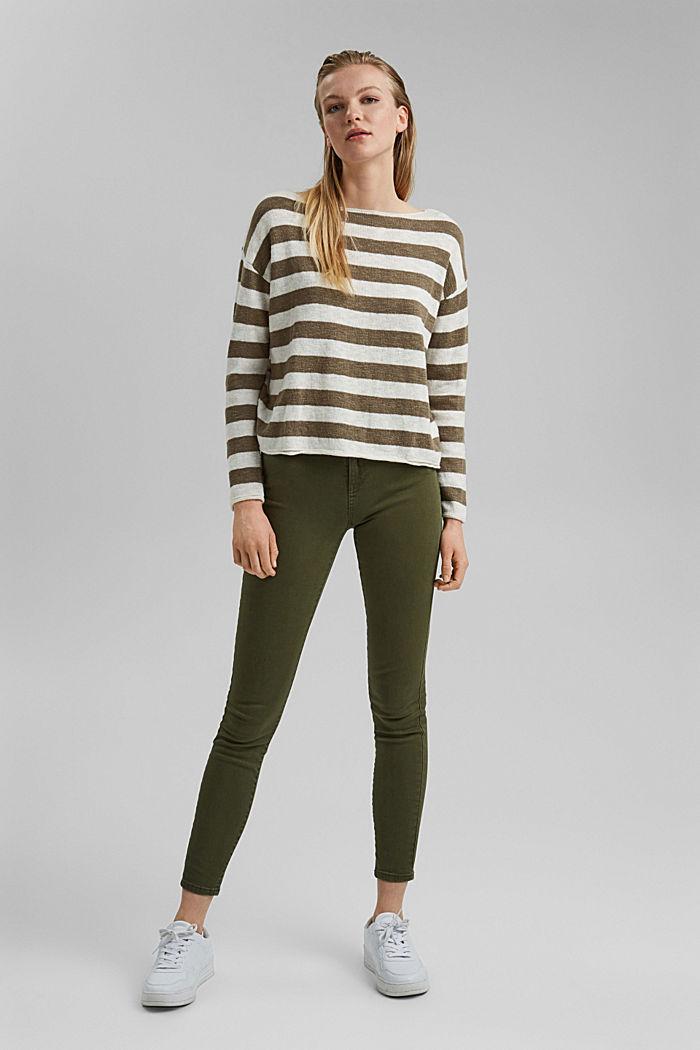 Organic cotton/linen: block stripe jumper, LIGHT KHAKI, detail image number 1