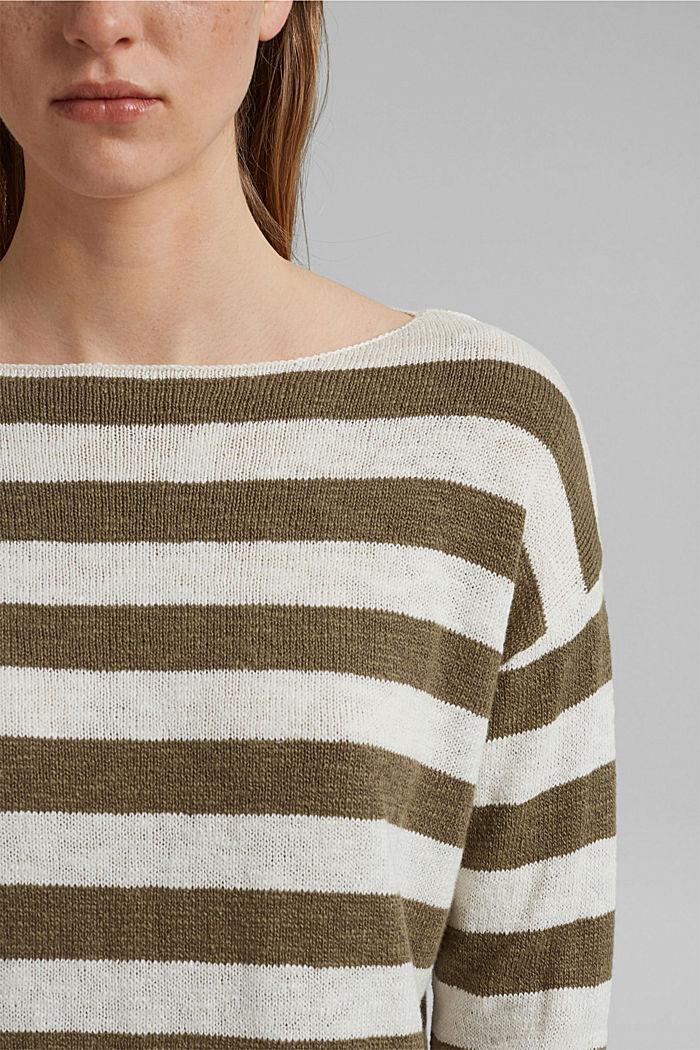 Organic cotton/linen: block stripe jumper, LIGHT KHAKI, detail image number 2