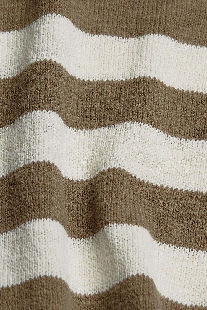 Organic cotton/linen: block stripe jumper, LIGHT KHAKI, detail image number 4
