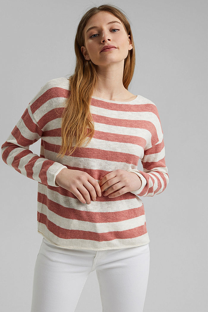 Organic cotton/linen: block stripe jumper, CORAL, detail image number 0