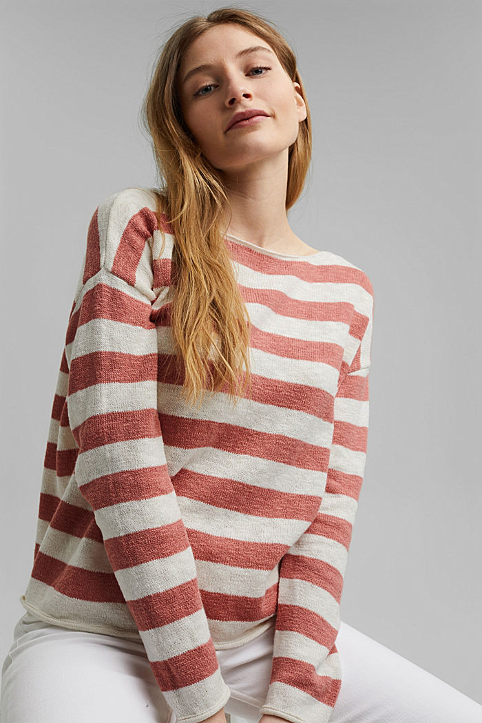 Organic cotton/linen: block stripe jumper, CORAL, detail image number 5