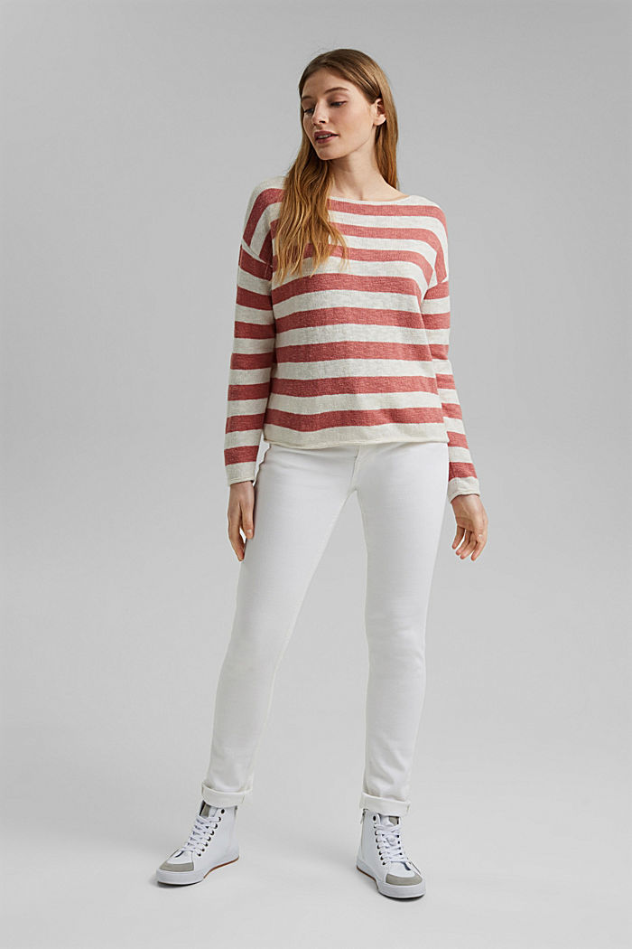 Organic cotton/linen: block stripe jumper, CORAL, detail image number 1