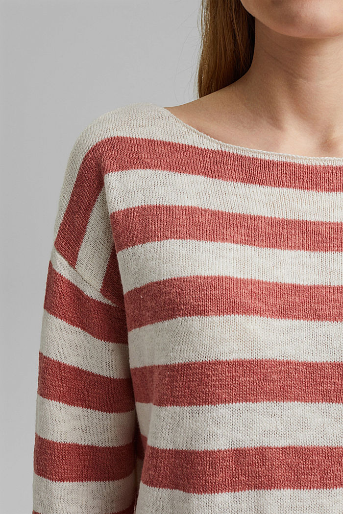 Organic cotton/linen: block stripe jumper, CORAL, detail image number 2