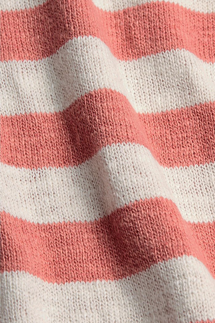 Organic cotton/linen: block stripe jumper, CORAL, detail image number 4