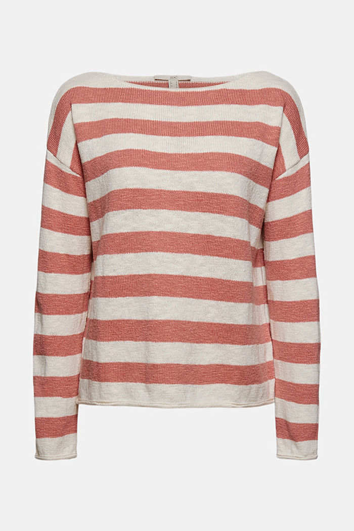 Organic cotton/linen: block stripe jumper, CORAL, detail image number 7