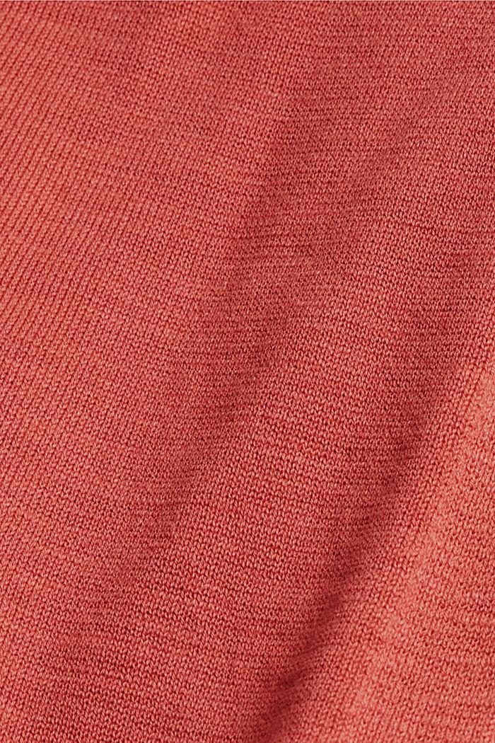 Åben cardigan af 100% økologisk bomuld, CORAL, detail image number 4