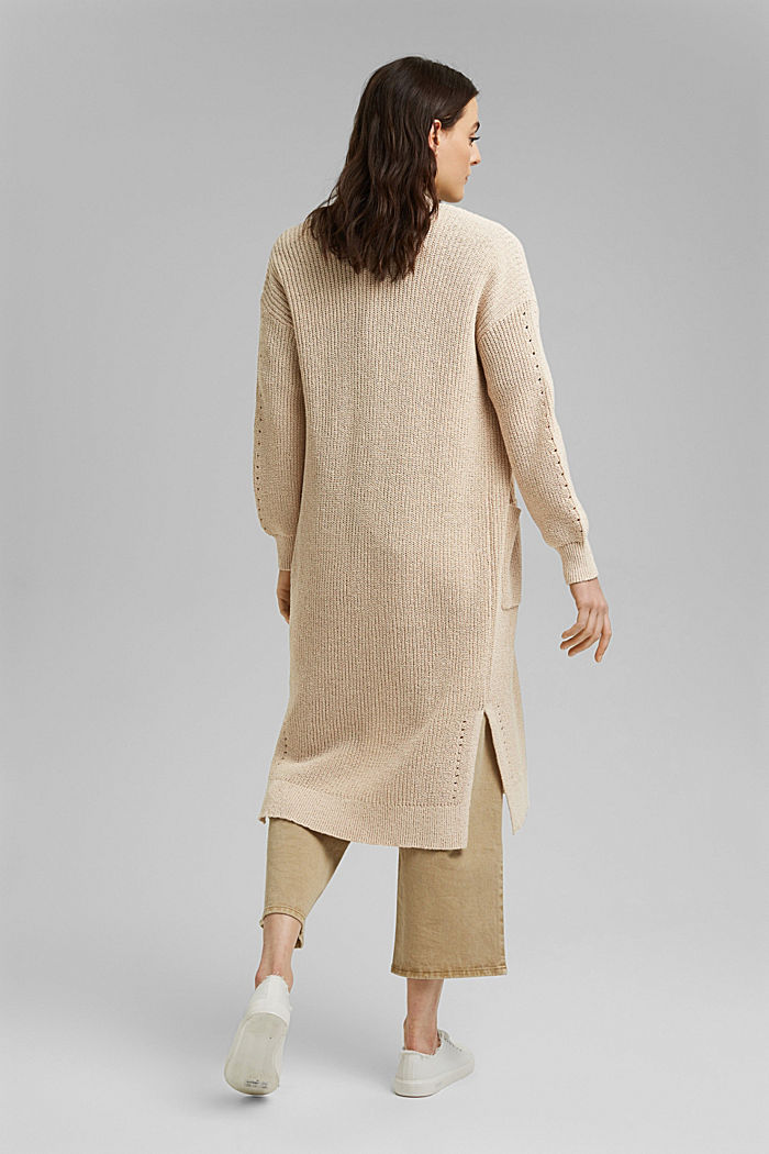 Long cardigan made of blended cotton, BEIGE, detail image number 3