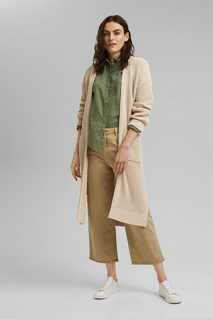 Long cardigan made of blended cotton, BEIGE, overview